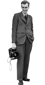 C. H. Wood with his plate camera, used for aerial photography.