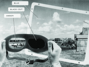A contemporary annotated photograph showing how C. H. Wood's goggles worked.