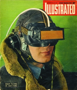 Cover of The Illustrated magazine showing a pilot wearing C. H. Wood's goggles