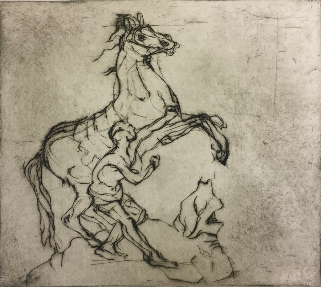 Study of Rearing Horse and Groom